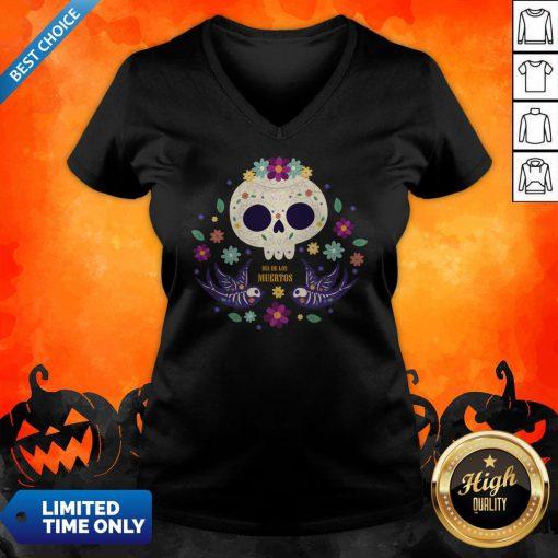 Sugar Skull Flowers Day Of The Dead Dia De Los Mueros V-neck