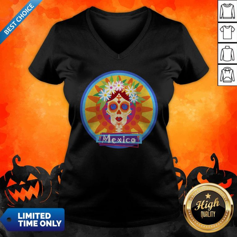 Sugar Skull Girl Day Of Dead Dia De Muertos Mexico V-neck