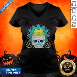Sugar Skull Happy Day Dead Dia De Los Muertos V-neck