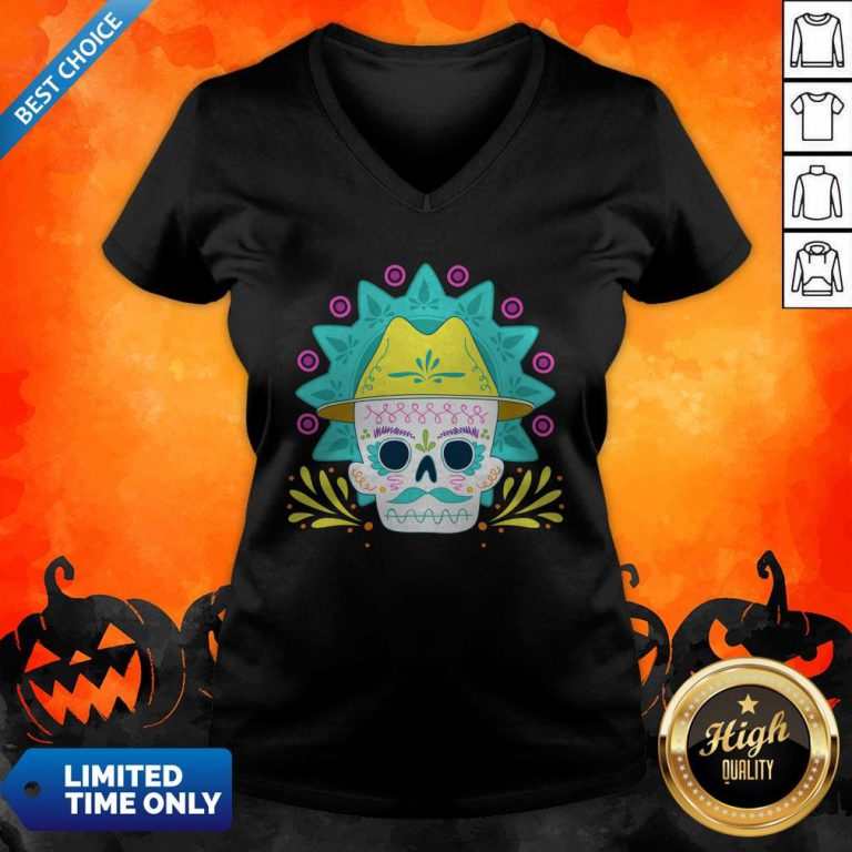 Sugar Skull Happy Day Dead Dia De Los Muertos V-neck