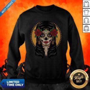 Sugar Skull Makeup Girl Beauty Day Of The Dead Muertos Sweatshirt