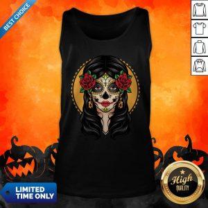 Sugar Skull Makeup Girl Beauty Day Of The Dead Muertos Tank Top