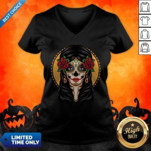 Sugar Skull Makeup Girl Beauty Day Of The Dead Muertos V-neck