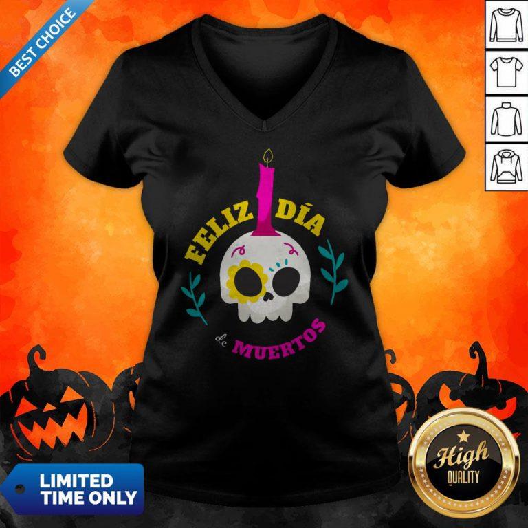 Sugar Skull Mexico Feliz Dia De Muertos V-neck