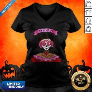 Sugar Skull Pink Girl Day Of Dead Dia De Muertos V-neck