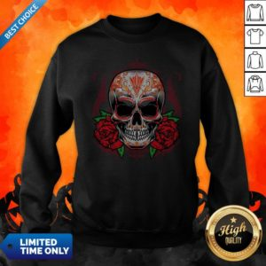 Sugar Skull With Rose Day Of The Dead Sweatshirt