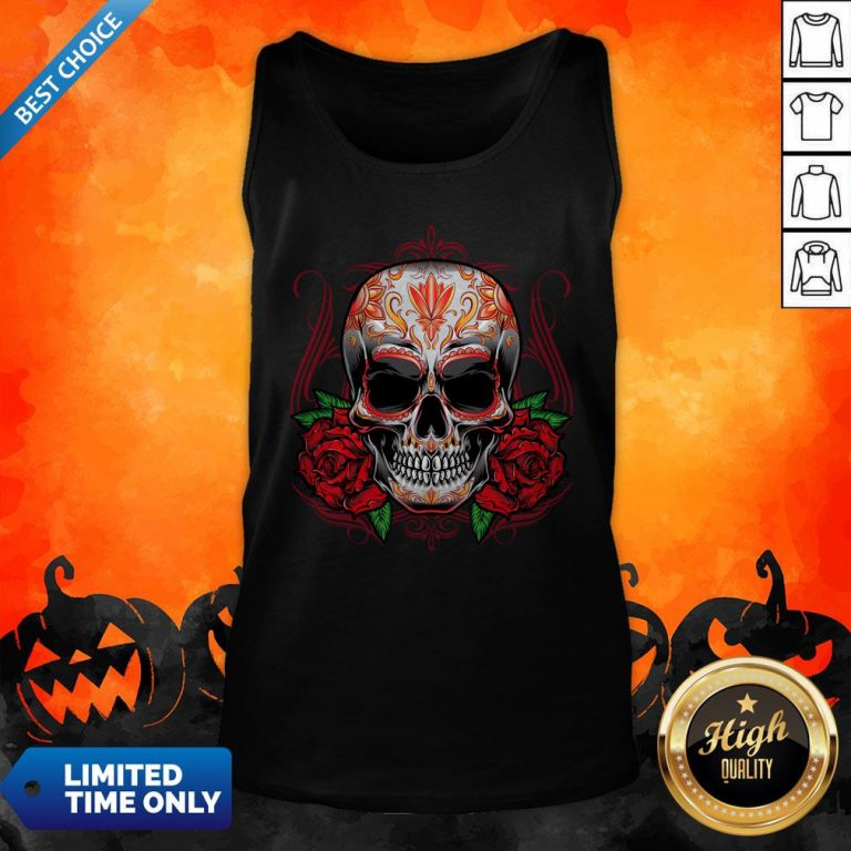 Sugar Skull With Rose Day Of The Dead Tank Top