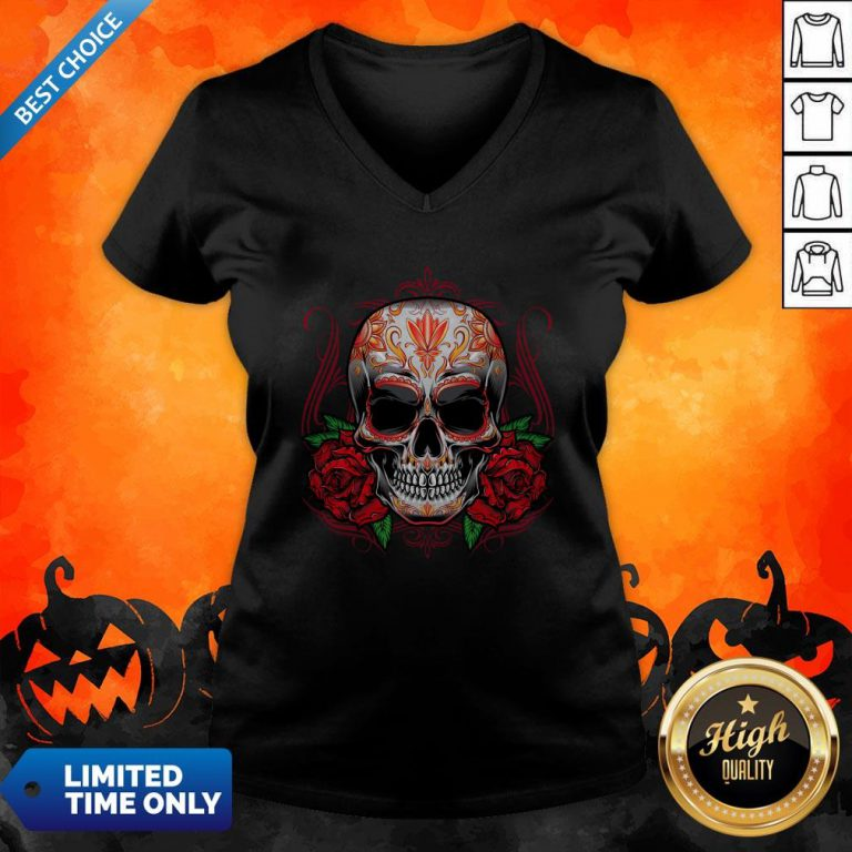 Sugar Skull With Rose Day Of The Dead V-neck