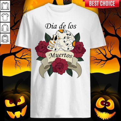 Sugar Skull With Roses Ribbon Dia De Los Muertos ShirtSugar Skull With Roses Ribbon Dia De Los Muertos Shirt