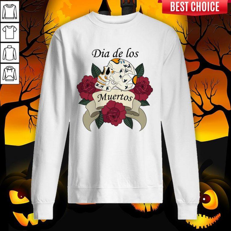 Sugar Skull With Roses Ribbon Dia De Los Muertos Sweatshirt