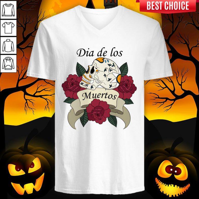 Sugar Skull With Roses Ribbon Dia De Los Muertos V-neck
