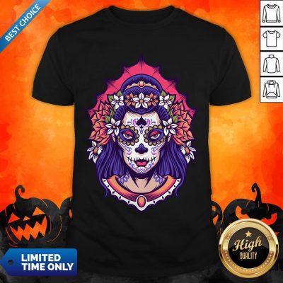 Sugar Skull Woman Day Of The Dead Dia De Muertos Shirt