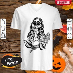 Sugar Skull Woman Day Of The Dead Muertos V-neck