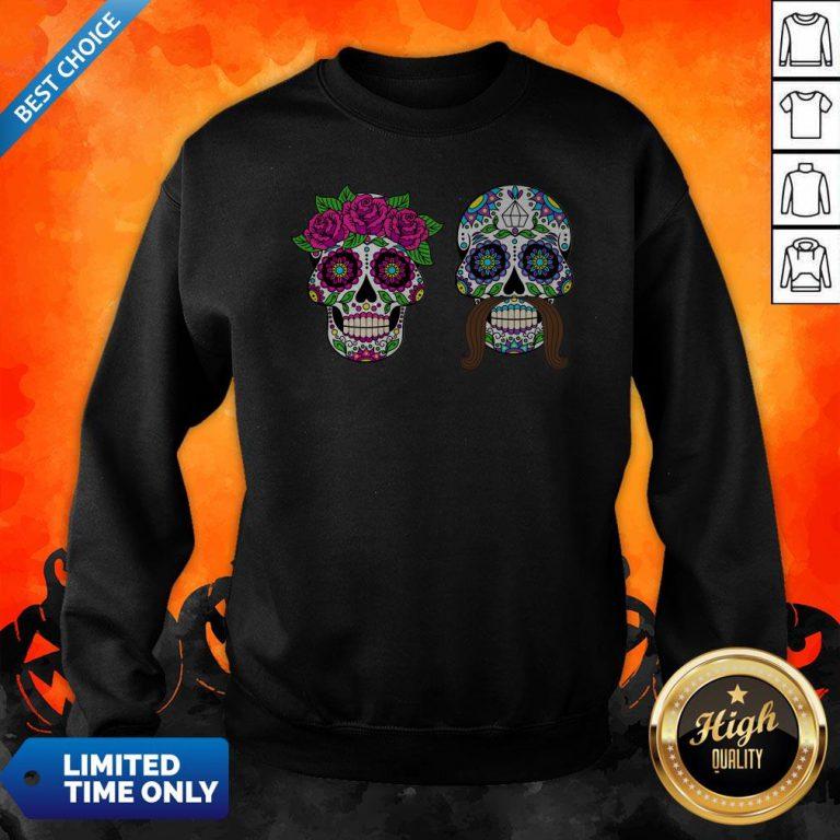 Sugar Skulls Couple Day Of The Dead Dia De Los Muertos Sweatshirt