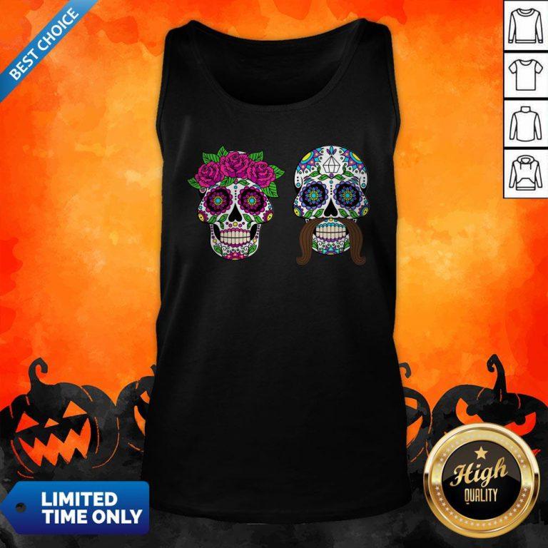 Sugar Skulls Couple Day Of The Dead Dia De Los Muertos Tank Top