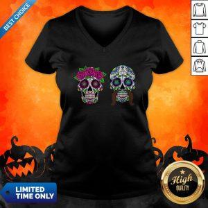 Sugar Skulls Couple Day Of The Dead Dia De Los Muertos V-neck