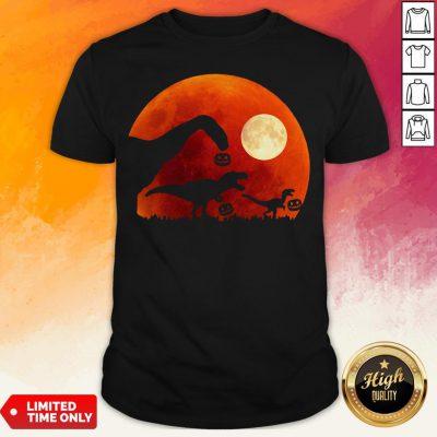 T Rex Dinosaur Pumpkin Halloween Moon Shirt