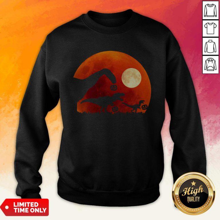 T Rex Dinosaur Pumpkin Halloween Moon Sweatshirt