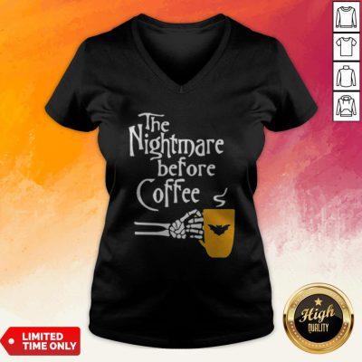 The Nightmare Before Coffee Skeleton Hand V-neck