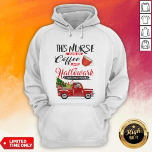 This Nurse Runs On Coffee And Hallmark Christmas Movies Red Car With Christmas Tree Hoodie