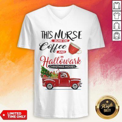 This Nurse Runs On Coffee And Hallmark Christmas Movies Red Car With Christmas Tree V-neck