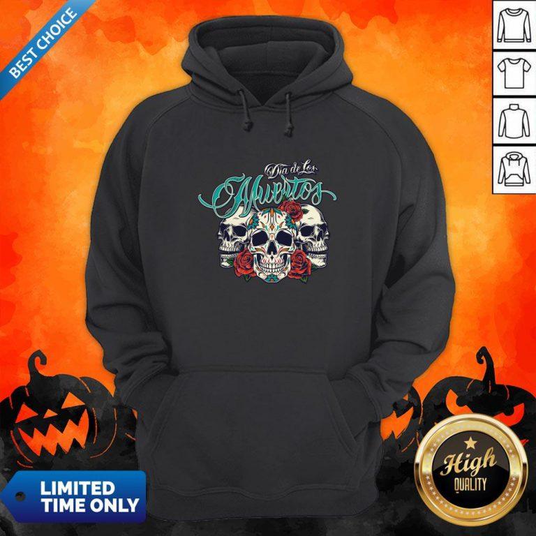 Three Sugar Skull Day Of The Dead Dia De Los Muertos Colorful Hoodie