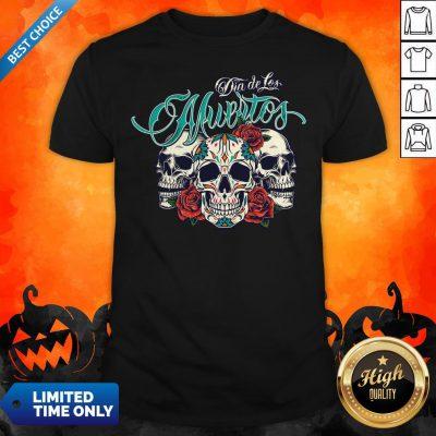Three Sugar Skull Day Of The Dead Dia De Los Muertos Colorful Shirt