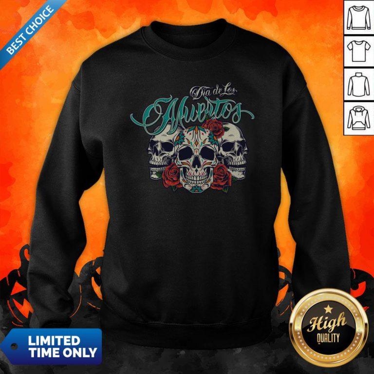 Three Sugar Skull Day Of The Dead Dia De Los Muertos Colorful Sweatshirt