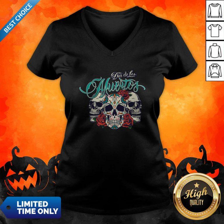 Three Sugar Skull Day Of The Dead Dia De Los Muertos Colorful V-neck