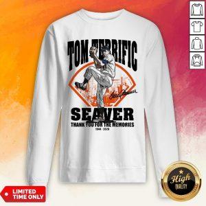 Tom Terrific Seaver Thank You For The Memories 1944-2020 Signature Sweatshirt