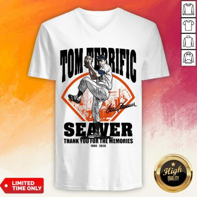 Tom Terrific Seaver Thank You For The Memories 1944-2020 Signature V-neck