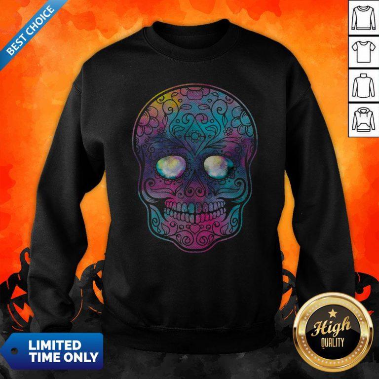 Watercolor Sugar Skull Day Of The Dead Sweatshirt
