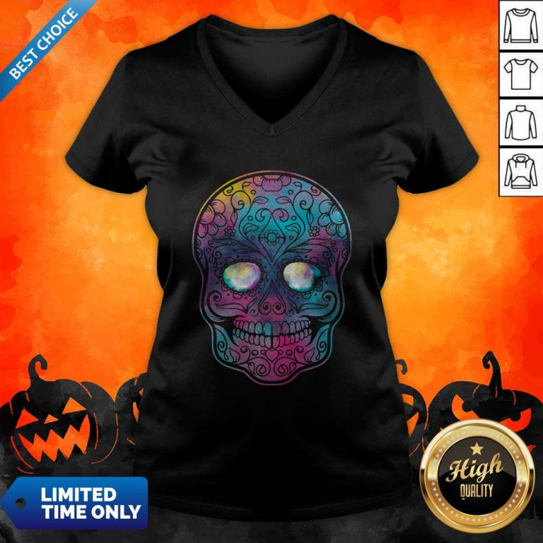 Watercolor Sugar Skull Day Of The Dead V-neck
