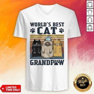 Worlds Best Cat Grandpaw Vintage Worlds Best Cat Grandpaw Vintage V-neck