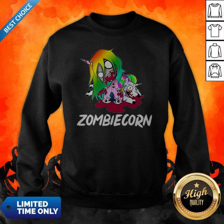 Zombiecorn Creepy Zombie Unicorn Halloween Sweatshirt