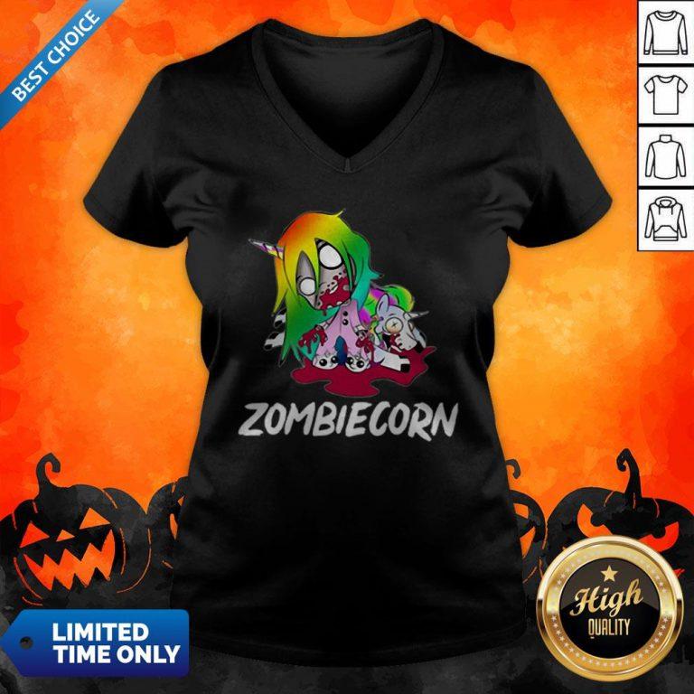 Zombiecorn Creepy Zombie Unicorn Halloween V-neck