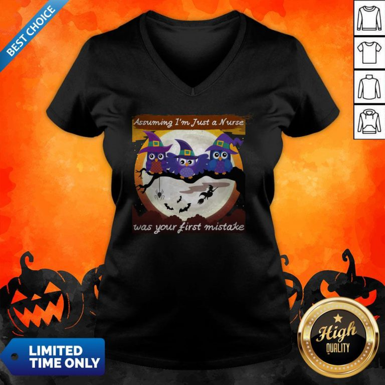 Assuming I'm Just A Nurse Was Your First Mistake Halloween Day V-neck