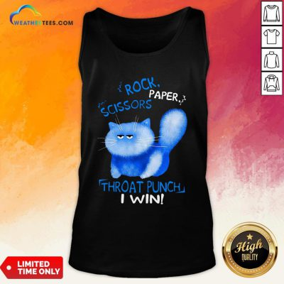 Cool Rock Paper Scissors Thoat Punch I Win Blue Cat Tank Top - Design By Weathertees.com