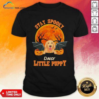 Ding Golden Retriever Bat Stay Spooky Daisy Little Puppy Halloween Shirt - Design By Weathertees.com