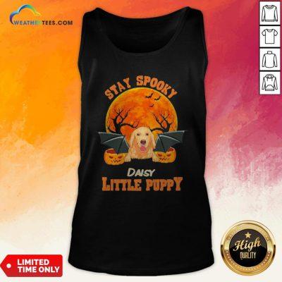 Ding Golden Retriever Bat Stay Spooky Daisy Little Puppy Halloween Tank Top- Design By Weathertees.com