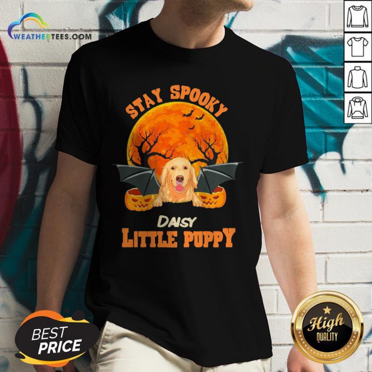 Ding Golden Retriever Bat Stay Spooky Daisy Little Puppy Halloween V-neck- Design By Weathertees.com