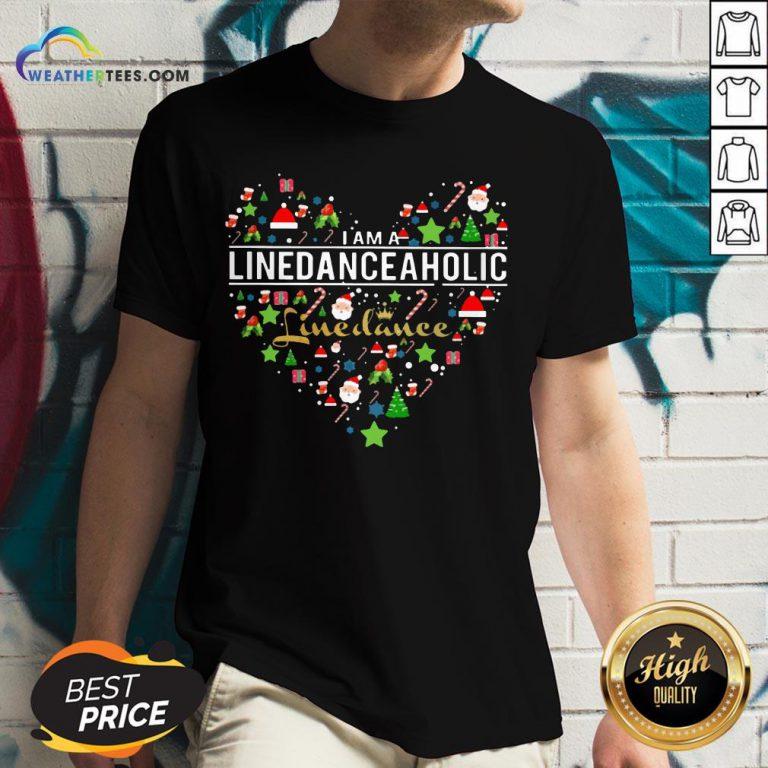 Fake I Am A Line Danceaholic Heart Christmas V-neck - Design By Weathertees.com