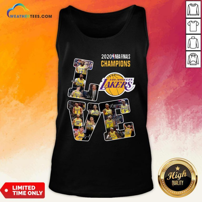 Funny Love Los Angeles Lakers 2020 Nba Finals Champions Signatures Tank Top - Design By Weathertees.com