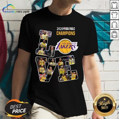 Funny Love Los Angeles Lakers 2020 Nba Finals Champions Signatures V-neck - Design By Weathertees.com