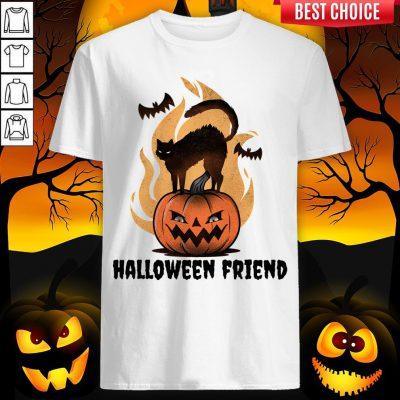 Halloween Friends Pumpkin Black Cat Bats Shirt