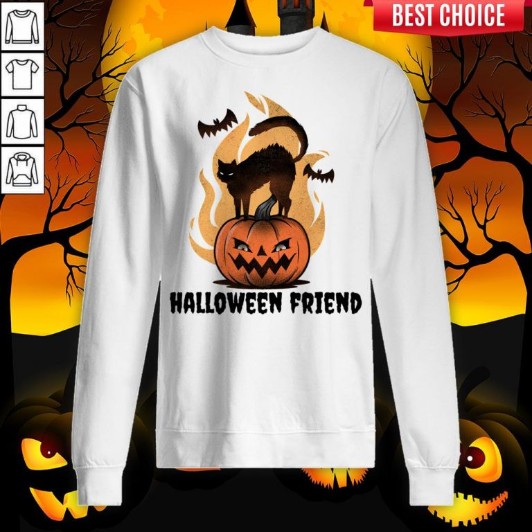 Halloween Friends Pumpkin Black Cat Bats Sweatshirt