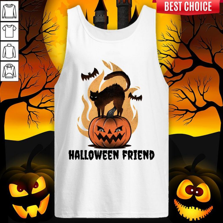 Halloween Friends Pumpkin Black Cat Bats Tank Top