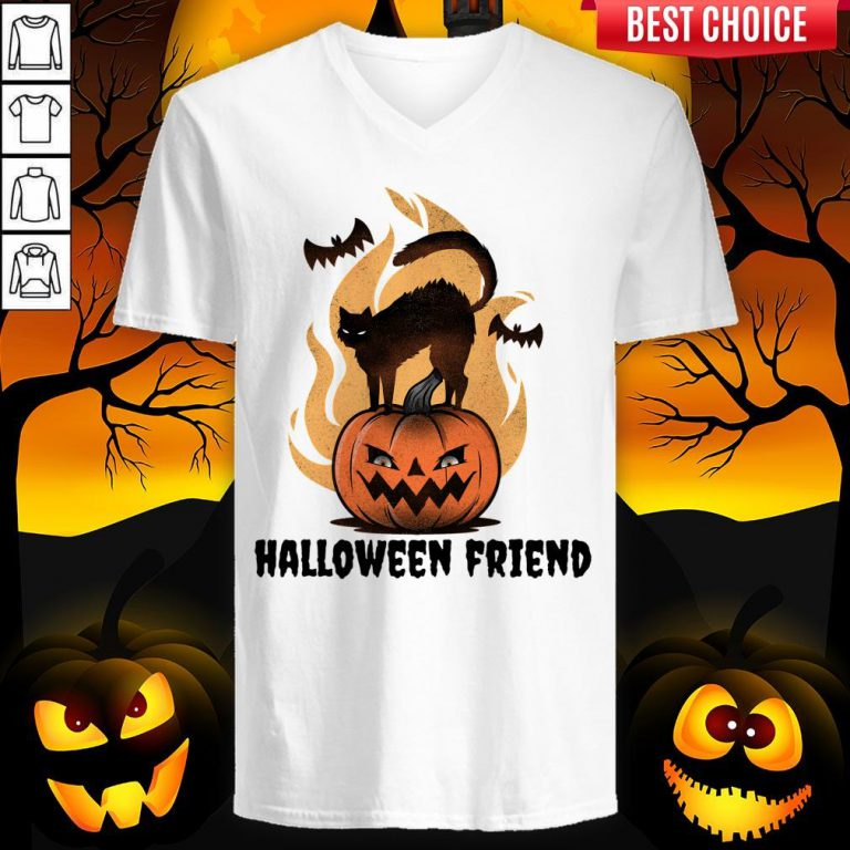 Halloween Friends Pumpkin Black Cat Bats V-neck