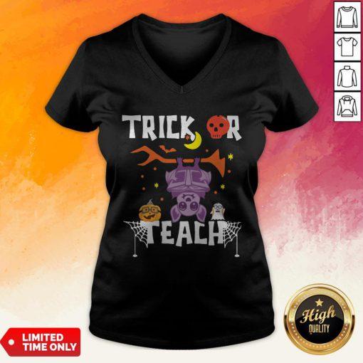 Halloween Trick Or Teach Teacher Hallowen V-neck