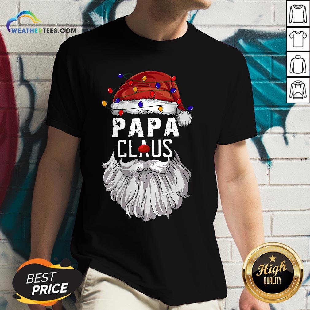 Header Papa Claus Merry Christmas V-neck - Design By Weathertees.com